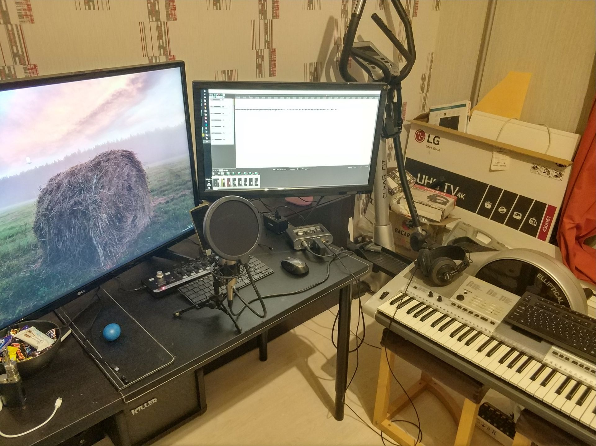 monitors, synth and microphones